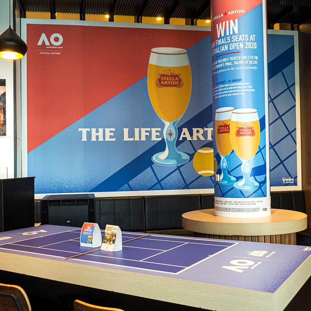 Stella Artois Crown Australian Open Display at The Pub