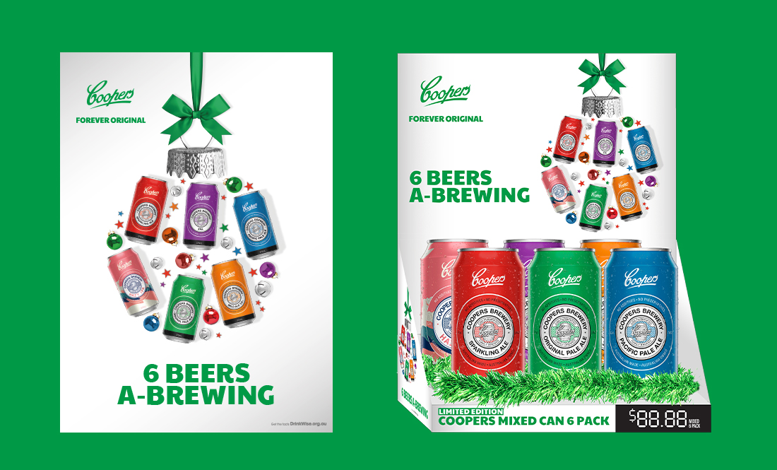 Coopers 6 Beers A-Brewing Campaign and 6 Pack Counter Unit