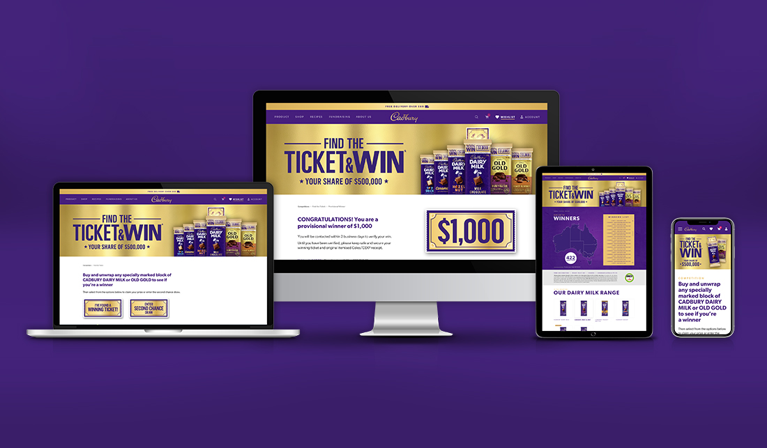 Cadbury Find the Ticket Promotion Website Preview