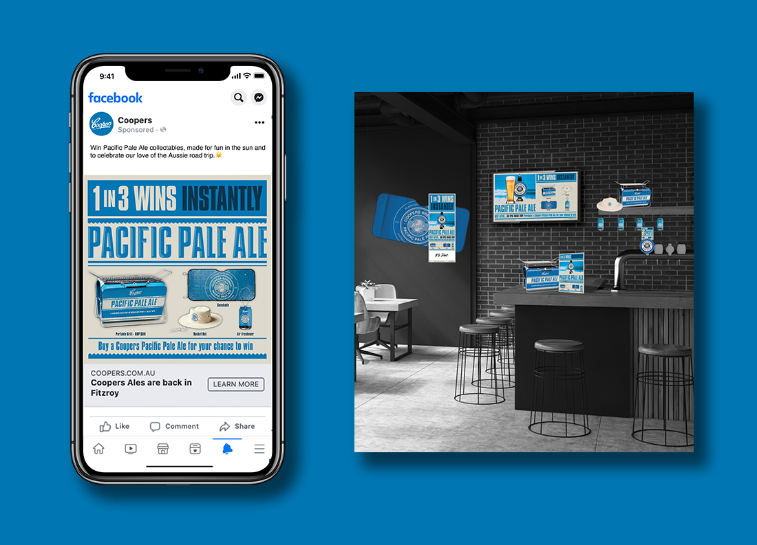 Coopers Pacific Pale Ale 1 in 3 wins Instantly Promotion Social Media and Point of Sale