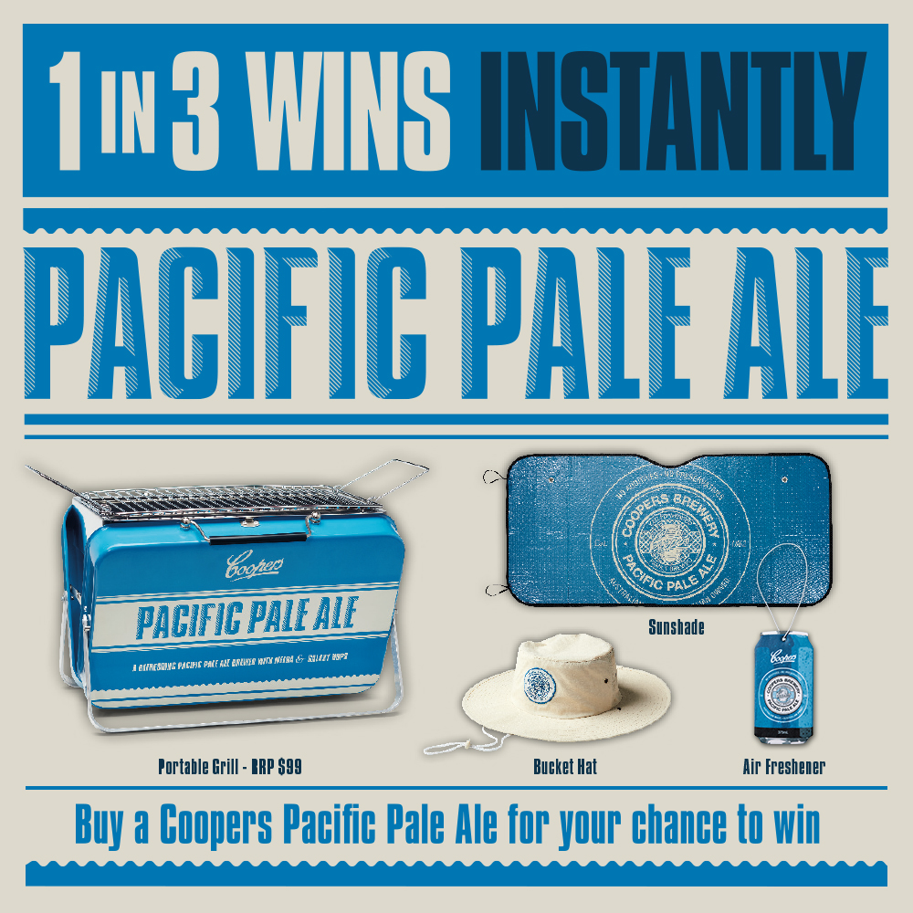 Coopers Pacific Pale Ale 1 in 3 wins Instantly Promotion